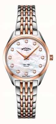 Rotary Ultra Slim Ladies Two Tone Mother of pearl Bracelet Watch LB08012/41/D
