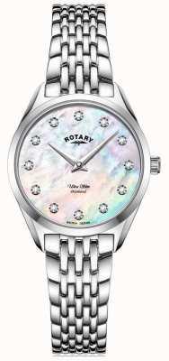 Rotary Women's Ultra Slim | Stainless Steel Bracelet | Diamond Mother Of Pearl Dial LB08010/07/D