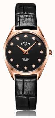 Rotary Ultra Slim Ladies Rose Gold Diamond Watch LS08014/04/D