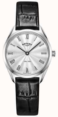Rotary Ultra Slim Ladies Silver Leather Watch LS08010/01
