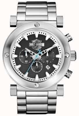 Harley Davidson Men's Chronograph   Stainless Steel Bracelet   Black Dial 76B166