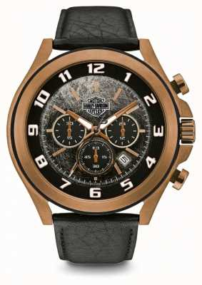 Harley Davidson Men's Black Leather Bracelet | Black Dial | 78B148