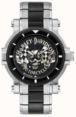 Harley Davidson Men's Skull And Flags | Two-Tone Steel Bracelet | Black Dial 78A124