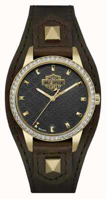 Harley Davidson Women's Shaped Cuff | Brown Leather Strap | Black Dial | 77L105
