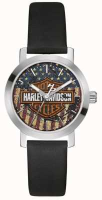 Harley Davidson Women's Black Leather Strap | American Flag Dial 76L174
