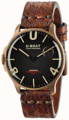 U-Boat Darkmoon 44mm Black IP Bronze   Leather Strap 8464-BRONZE
