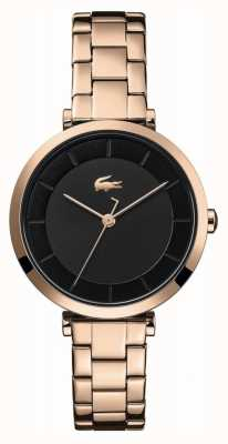 Lacoste | Women's | Geneva | Rose Gold Steel Bracelet | Black Dial | 2001142