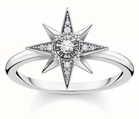 Thomas Sabo Sterling Silver Royalty Star Ring   EU 54 (UK N) TR2299-643-14-54