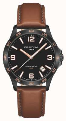 Certina | DS-8 | Brown Leather Strap | Black Dial | Quartz | C0338513605700