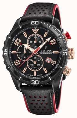 Festina Men's Chronograph   Black Leather Strap   Black Dial F20519/4