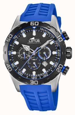 Lotus Colour | Men's Blue Silicone Strap | Black Chronograph Dial L18677/4