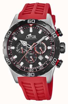 Lotus Colour   Men's Red Silicone Strap   Black Chronograph Dial L18677/6