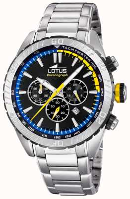 Lotus Men's Stainless Steel Bracelet | Black Chronograph Dial L18678/6