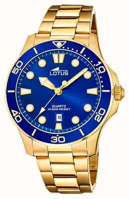Lotus Men's Gold Plated Steel Bracelet   Blue Dial L18761/1