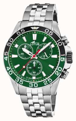 Lotus Men's Stainless Steel Bracelet | Green Dial | Green/Black Bezel L18765/2
