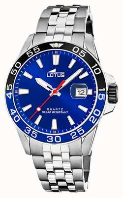 Lotus Men's Stainless Steel Bracelet | Blue Dial | Black/Blue Bezel L18766/1