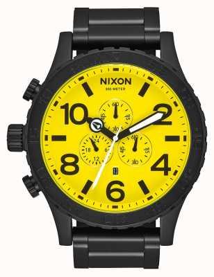 Nixon 51-30 Chrono | All Black / Yellow | Black IP Steel Bracelet | Yellow Dial A083-3132-00