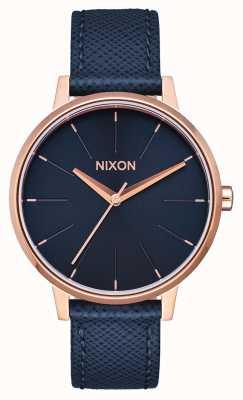 Nixon Kensington Leather | Navy / Rose Gold | Blue Leather Strap | Blue Dial A108-2195-00