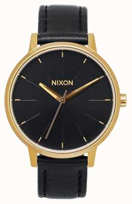 Nixon Kensington Leather | Gold / Black | Black Leather Strap | Black Dial A108-513-00