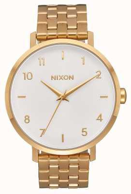 Nixon Arrow | All Gold / White | Gold IP Steel Bracelet | White Dial A1090-504-00