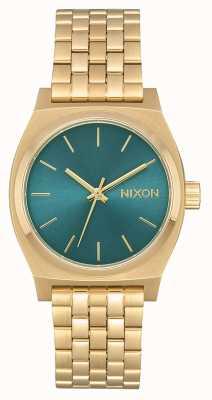 Nixon Medium Time Teller | Light Gold / Turquoise | Gold IP Steel Bracelet A1130-2626-00