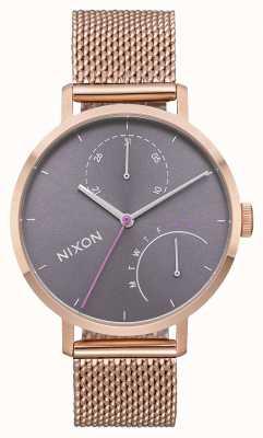 Nixon Clutch | All Rose Gold / Grey | Rose Gold IP Steel Mesh | Grey Dial A1166-2618-00
