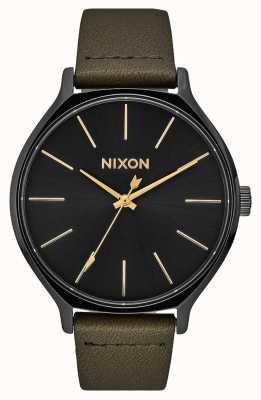 Nixon Clique Leather | Black / Fatigue | Green Leather Strap | Black Dial A1250-178-00