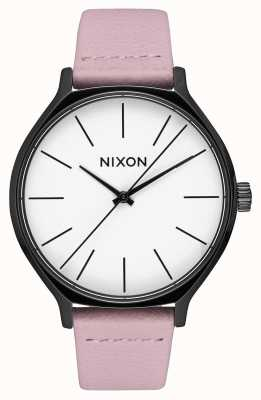 Nixon Clique Leather | Black / Coral | Pink Leather Strap | White Dial A1250-3318-00