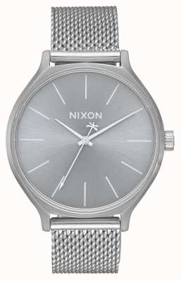 Nixon Clique Milanese | All Silver | Stainless Steel Mesh Bracelet | Silver Dial A1289-1920-00