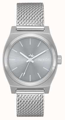 Nixon Medium Time Teller Milanese | All Silver | Stainless Steel Mesh | Silver Dial A1290-1920-00