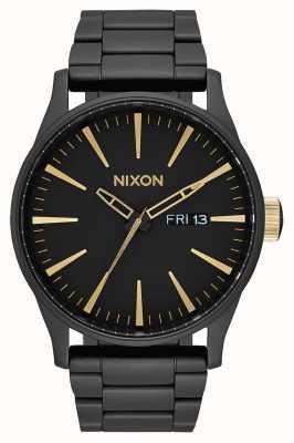 Nixon Sentry SS | Matte Black / Gold | Black IP Steel Bracelet | Black Dial A356-1041-00