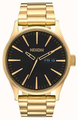 Nixon Sentry SS | All Gold / Black | Gold IP Steel Bracelet | Black Dial A356-510-00