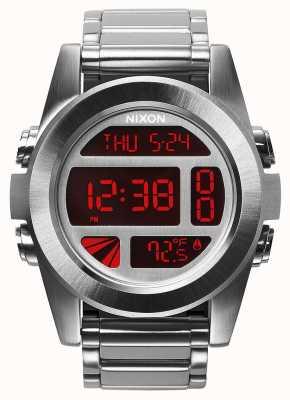 Nixon Unit SS | Silver / Red | Digital | Stainless Steel Bracelet A360-1263-00