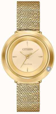 Citizen Women's Ambiluna | Gold Tone Mesh Bracelet | Champagne Dial EM0642-52P