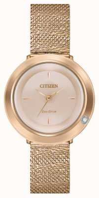 Citizen Women's Ambiluna | Rose Gold Mesh Bracelet | Mother Of Pearl Dial EM0643-50X