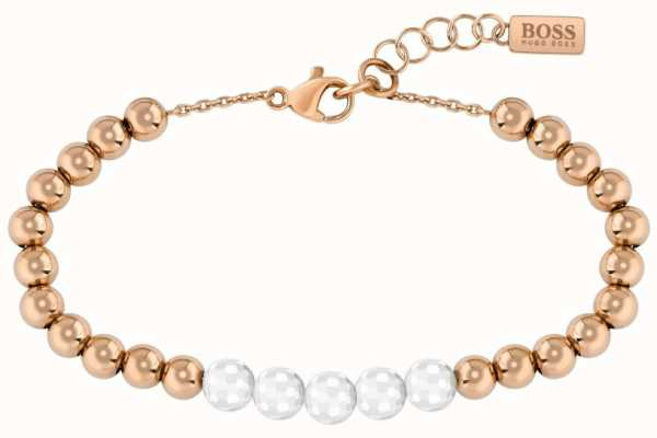 BOSS Jewellery Beads Collection Rose Gold Tone Bracelet 1580024
