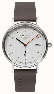 Bauhaus Men's Brown Leather Italian Strap   White Dial 2130-1