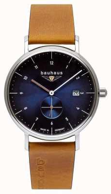 Bauhaus Men's Brown Italian Leather Strap   Blue Dial 2130-3