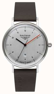 Bauhaus Men's Brown Italian Leather Strap   Silver Tone Dial 2140-1