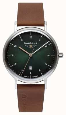 Bauhaus Men's Brown Italian Leather Strap   Green Dial 2140-4