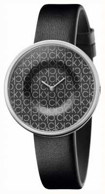 Calvin Klein | Women's | Mania | Black Leather Strap | Black CK Pattern Dial | KAG231CX