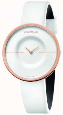 Calvin Klein | Women's | Mania | White Leather Strap | Rose Gold Case | KAG236L2