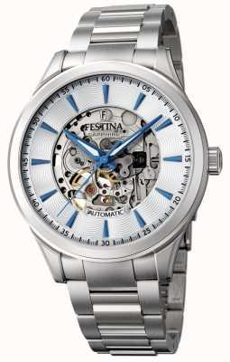 Festina Men's Automatic Skeleton   Silver Steel Bracelet   F20536/1