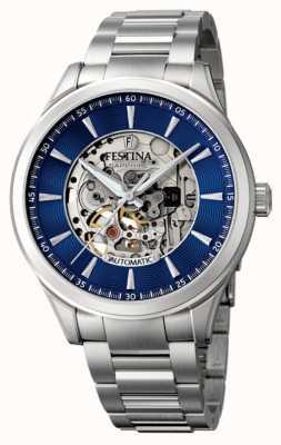 Festina Men's Automatic Skeleton   Steel Bracelet   Blue Dial F20536/3