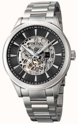Festina Men's Automatic Skeleton   Steel Bracelet   Black Dial F20536/4