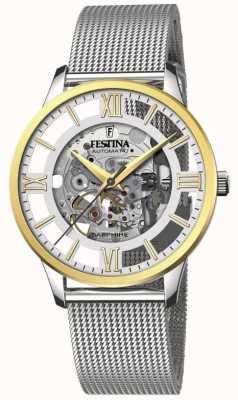 Festina Men's Automatic Skeleton   Steel Mesh Bracelet   Skeleton Dial F20537/1