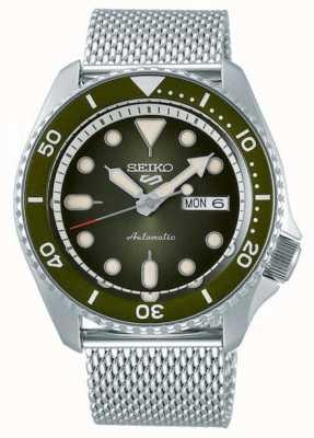 Seiko 5 Sport | Men's | Steel Mesh Bracelet | Green Dial | SRPD75K1