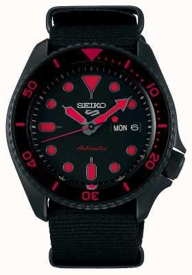 Seiko 5 Sports | Men's | Black Nylon Strap | Black/Red Dial SRPD83K1