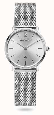 Michel Herbelin City   Silver Dial   Stainless Steel Mesh Bracelet 16915/11B
