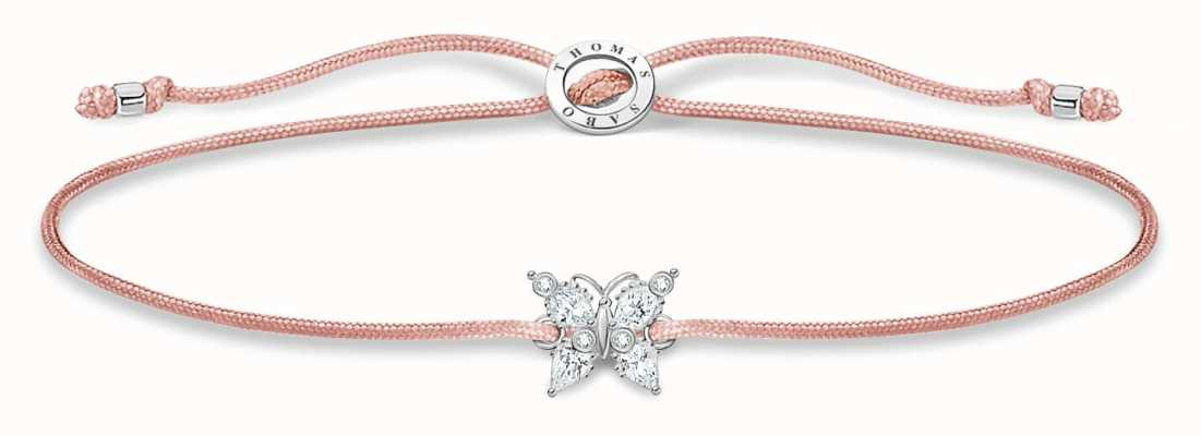 Thomas Sabo Little Secrets | Pink Nylon Bracelet | White Butterfly LS117-401-19-L20V